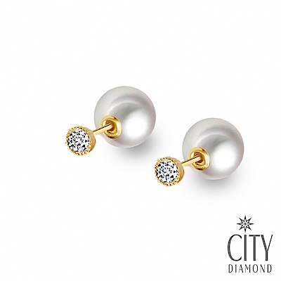City Diamond引雅【東京Yuki】18K日本AKOYA珍珠鑽石雙面兩用耳環