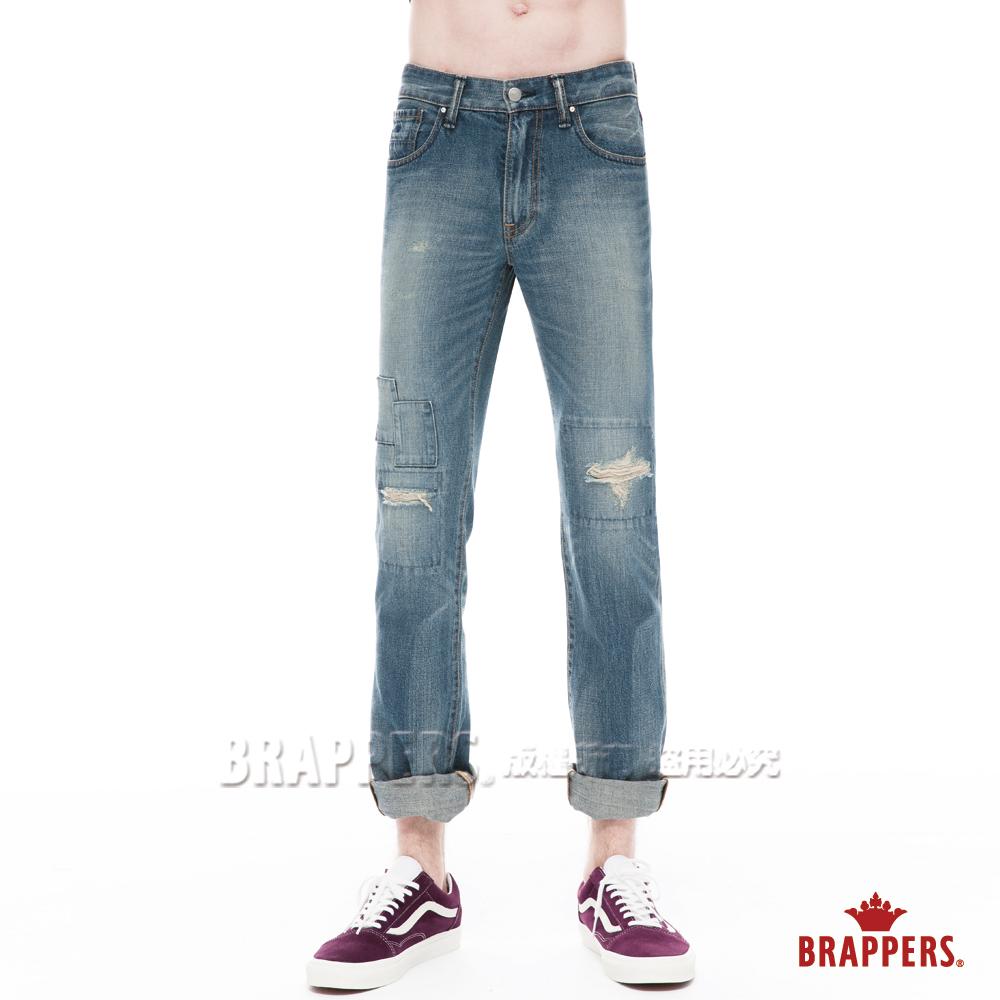 BRAPPERS 男款 HM中腰系列-直筒褲-復古藍