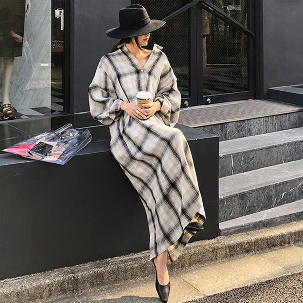 【KISSDIAMOND】寬鬆長袖翻領系帶洋裝(簡約/百搭/舒適/KDD-6802)