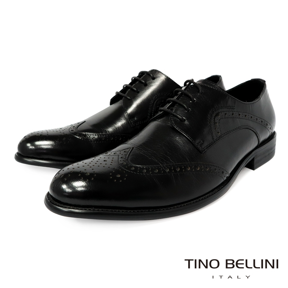 TINO BELLINI 牛皮經典雕花紳士牛津鞋-黑 product image 1