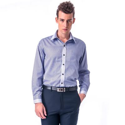 【金安德森】紫黑白線條變化領長袖襯衫