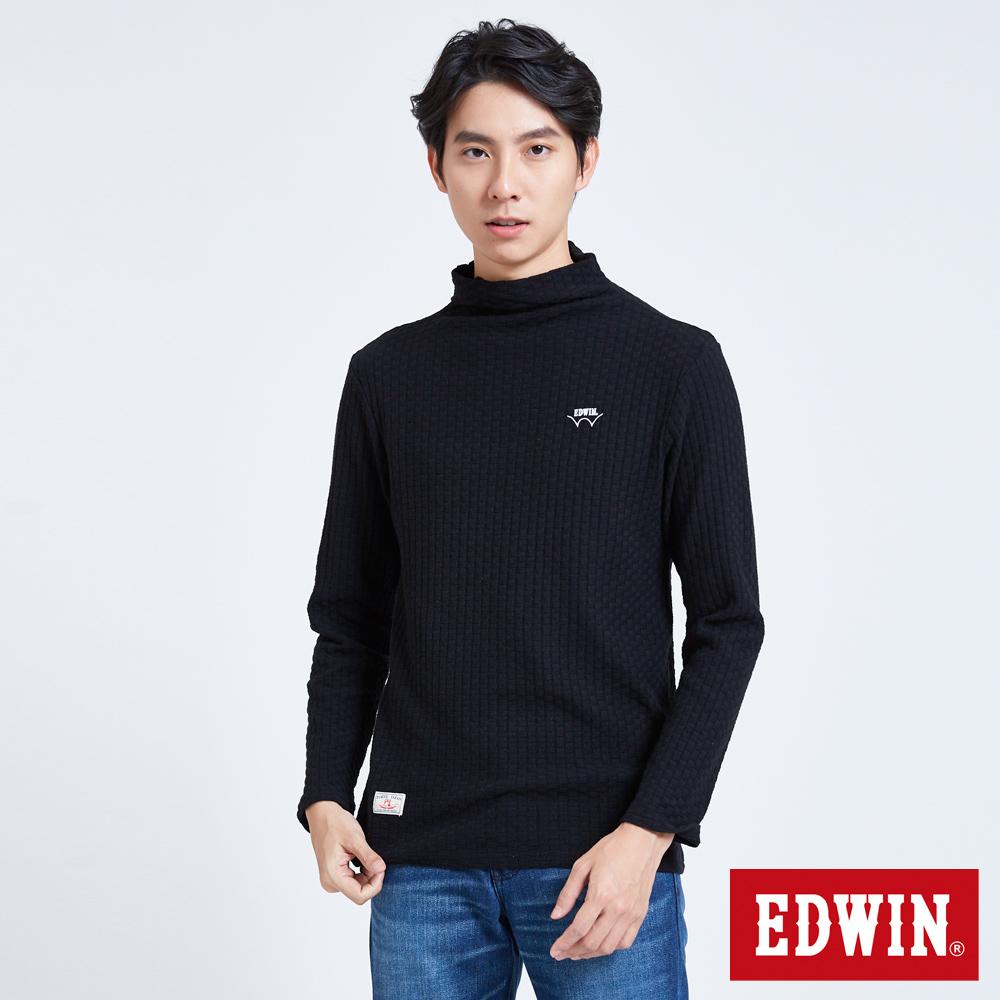 EDWIN 職人手作 小翻領織紋長袖T恤-男-黑色
