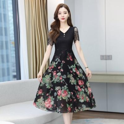高雅黑色蕾絲印花雪紡洋裝M-4XL-REKO