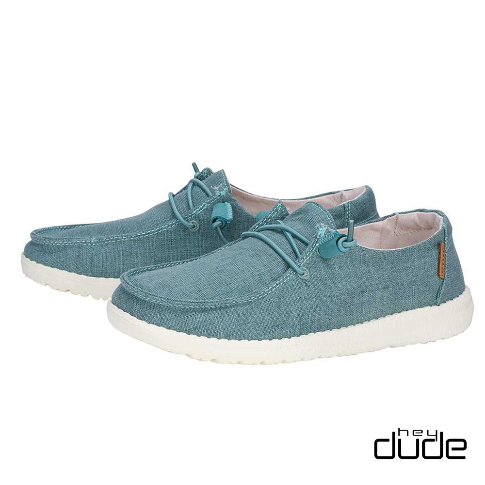 HEY DUDE(女)  四孔綁帶親膚柔棉輕量休閒鞋 - 輕湖藍