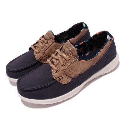 Skechers 休閒鞋 Go Walk Like 帆船鞋 女鞋  郊遊 踏青 健走 好穿脫 輕量 緩震 藍 棕 136098-NVY