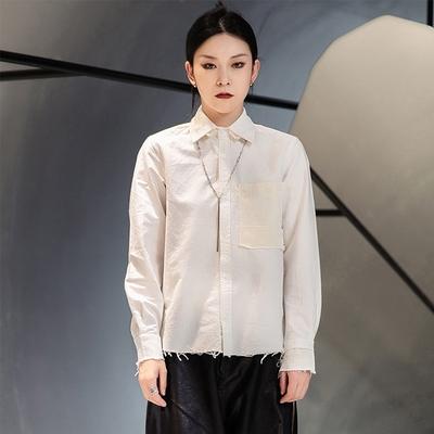 設計所在Style-港風做舊割毛邊補丁長袖襯衫