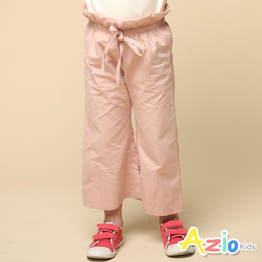 Azio Kids 女童 長褲 荷葉邊鬆緊綁帶寬褲 (粉)