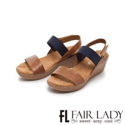 【FAIR LADY】Early Summer優雅漫步一字厚底波跟涼鞋 棕