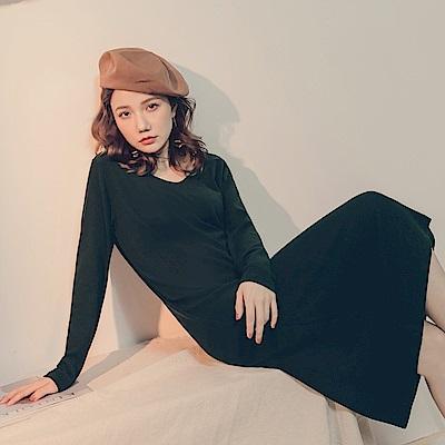 純色針織美背設計V領洋裝-OB大尺碼