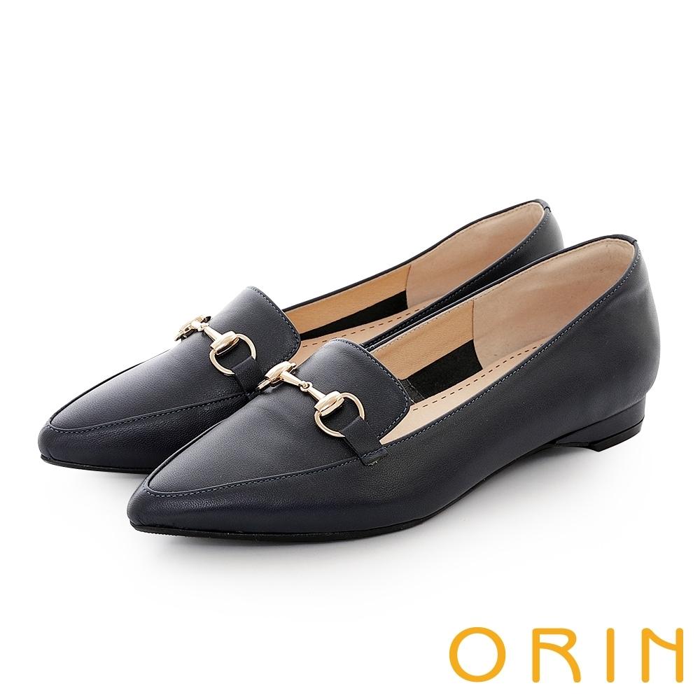 ORIN 氣質馬銜釦百搭樂福 女 平底鞋 深藍