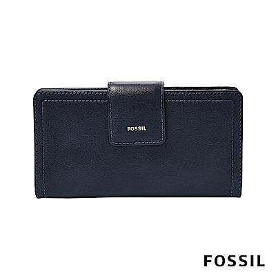 FOSSIL LOGAN 真皮系列拉鍊零錢袋設計中夾-海軍藍