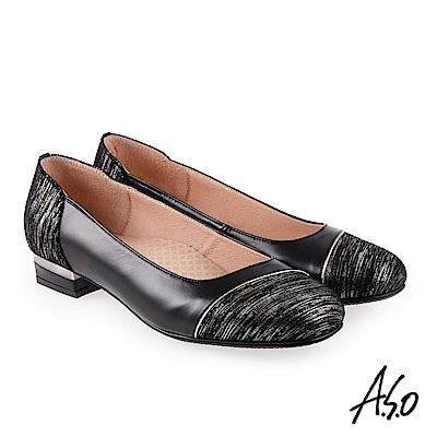 A.S.O 雅緻魅力 職場通勤金蔥羊皮奈米低跟包鞋 黑