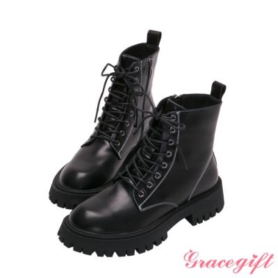 Grace gift-撞色鋸齒厚底中跟短靴 黑