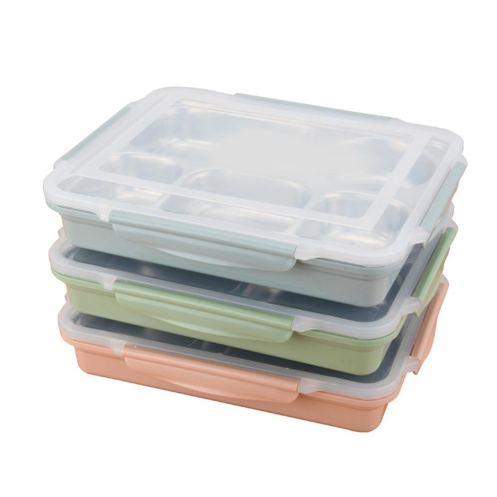 北歐 304不鏽鋼5格分隔式便當盒 (1入組) 贈密封湯碗  顏色隨機