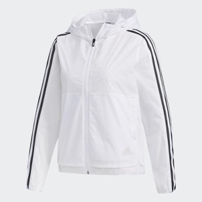 adidas 連帽外套 運動 休閒 風衣 女款 白 FM9257 3-Stripes Jacket