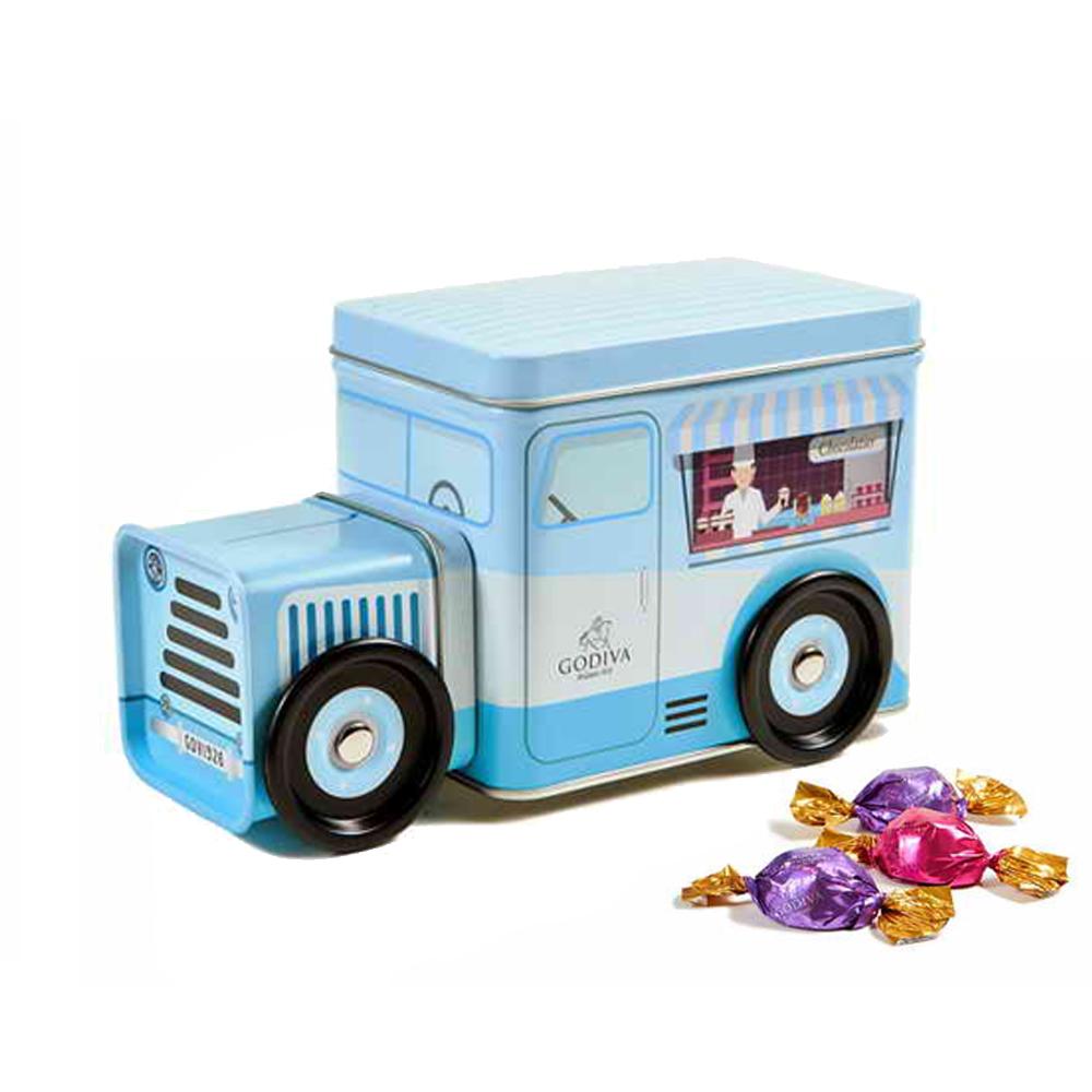 GODIVA 松露巧克力藍色小貨車力鐵盒(80g)