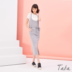 腰綁帶顯瘦背心洋裝 共三色 TATA-F