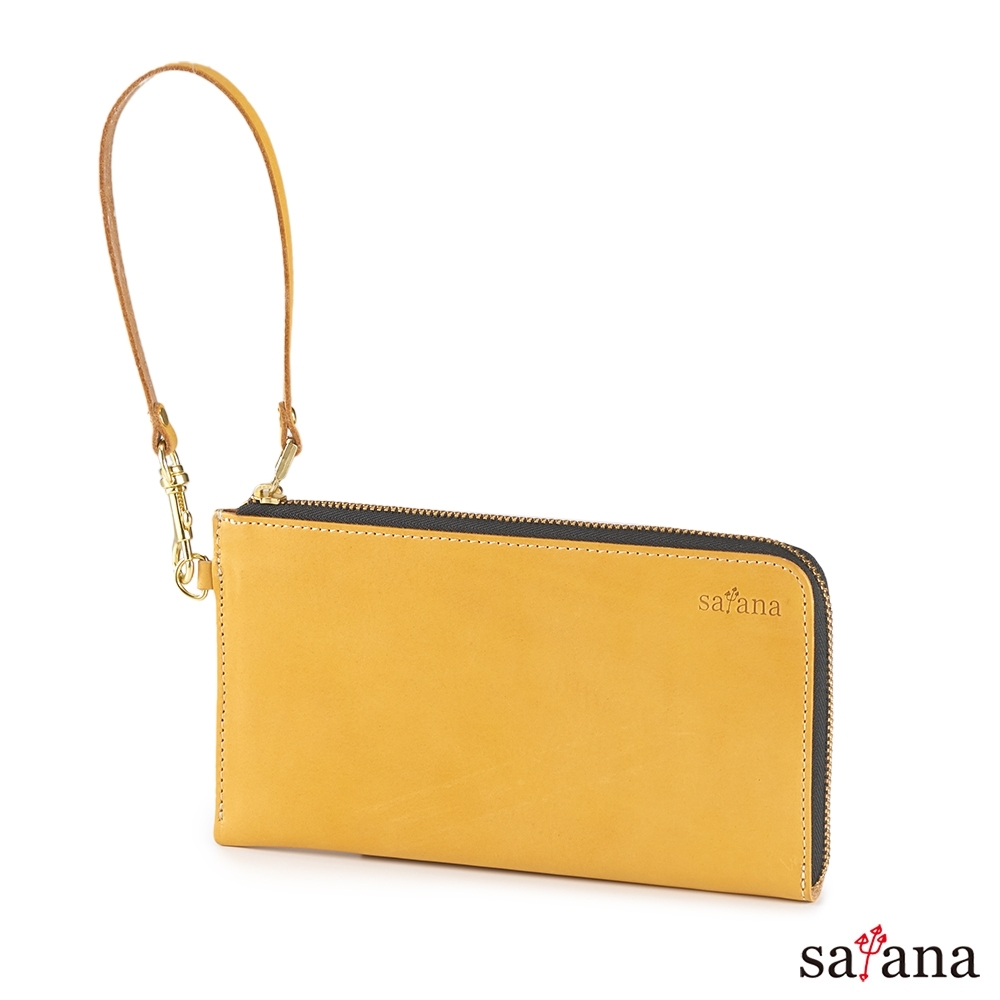 satana - Leather 質感生活萬用長夾 - 古金黃