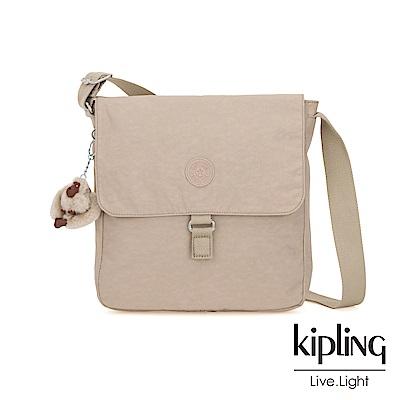 Kipling 溫暖奶茶色掀蓋方型側背包-COLBY