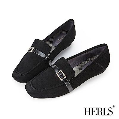 HERLS 全真皮釦環方頭麂皮樂福鞋-黑色