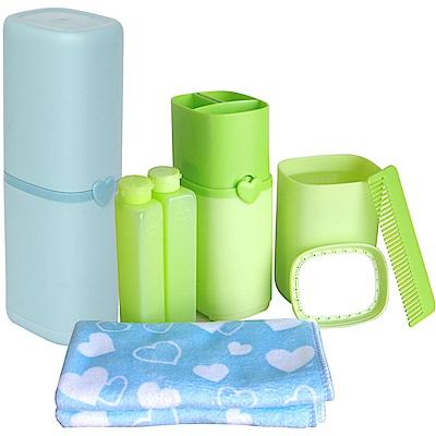 旅行必備 盥洗牙刷杯六件套組+30x35cm小方巾一條