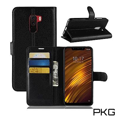 PKG 小米Pocophone F1 側翻式-精選皮套-經典款式-黑
