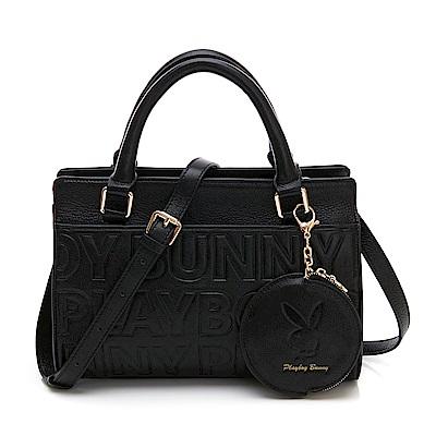PLAYBOY- 手提包附長背帶 Fashion Brand 時尚烙印系列-黑色