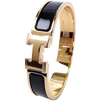 HERMES Clic H PM 經典LOGO設計手環(黑色x金)