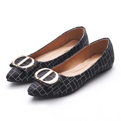 A one  金蔥格紋飾釦蝴蝶結尖頭平底鞋-黑色