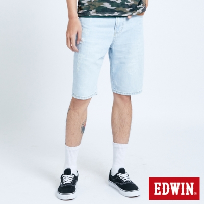 EDWIN 503 五袋式微刷破 牛仔短褲-男-重漂藍