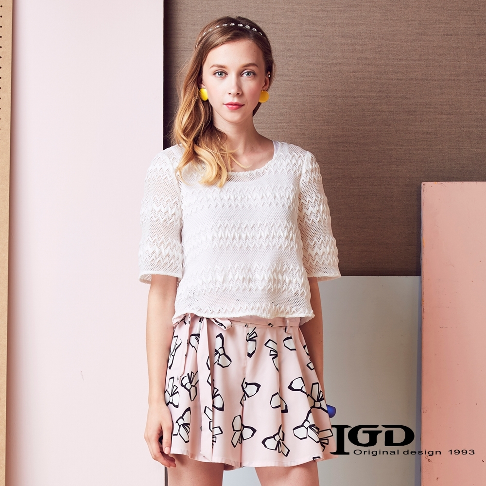 IGD英格麗 蕾絲網眼上衣-白色