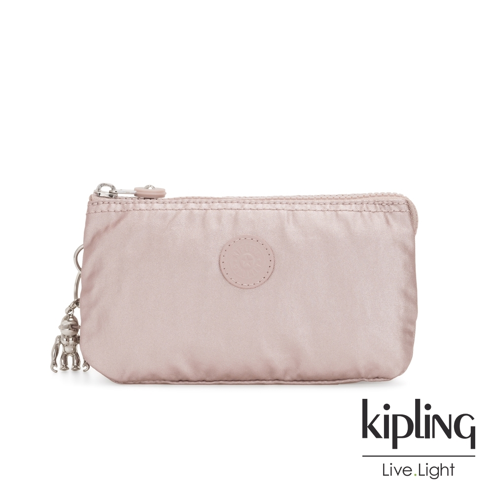 Kipling 嬌柔玫瑰金色三夾層配件包-CREATIVITY L
