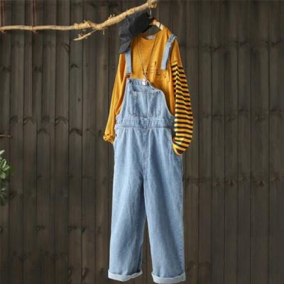 減齡寬鬆顯瘦牛仔背帶直筒連身長褲-設計所在