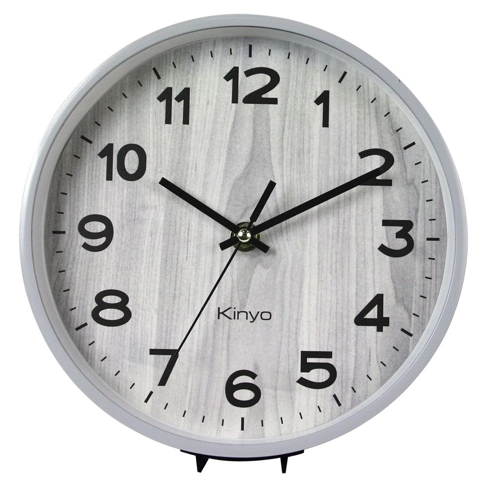 KINYO木紋風桌掛兩用鐘(淺灰)CL153GY