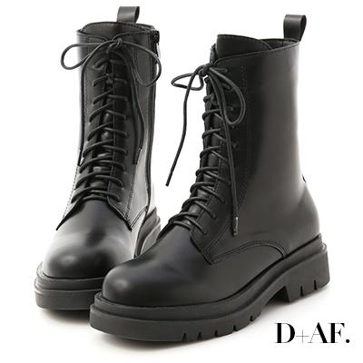 D+AF 酷帥有型.鬆糕底綁帶中筒馬汀靴*黑