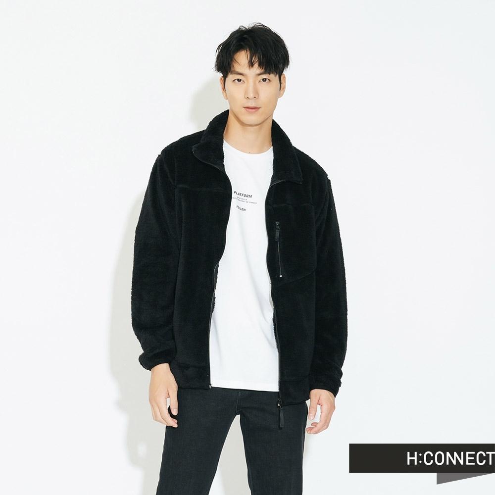 H:CONNECT 韓國品牌 男裝 - 立領仿皮毛泰迪熊外套  - 黑