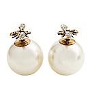Dior Tribales 鍍金復古金屬白色水晶和白色珍珠蜜蜂穿式耳環