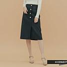 H:CONNECT 韓國品牌 女裝 - 造型排釦開岔中長裙  - 黑