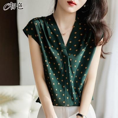 初色  法式小波點上衣-綠色-(M-2XL可選)