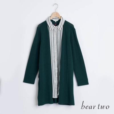 bear two- 假兩件罩衫條紋長襯衫 - 綠