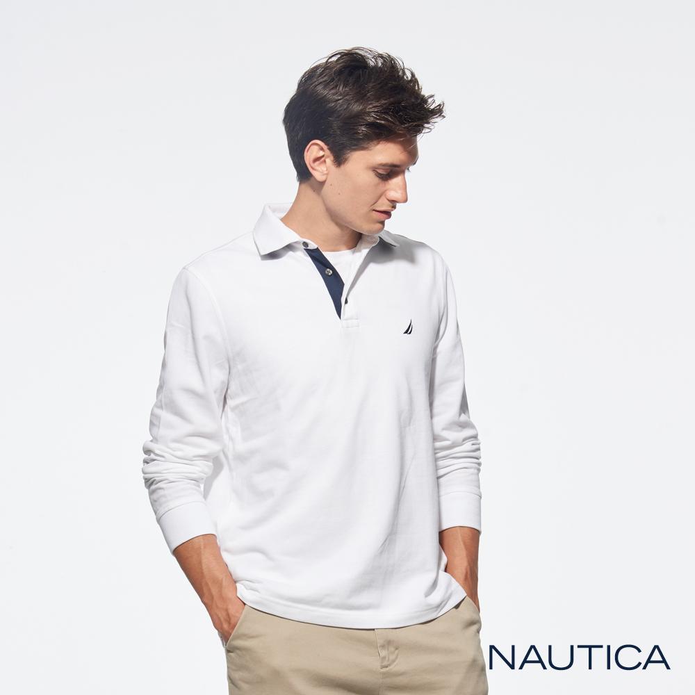 Nautica經典款素色休閒長袖POLO衫-白