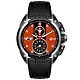 MINI Swiss Watches 石英錶 45mm 橘底黑條兩眼計時 黑色真皮錶帶 product thumbnail 1
