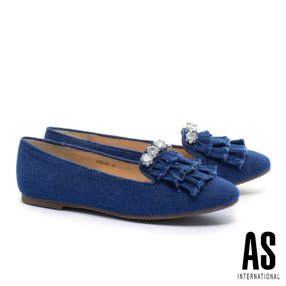 平底鞋 AS 潮流晶鑽抽鬚流蘇造型牛仔布樂福平底鞋-深藍