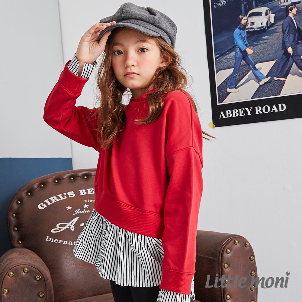 Little moni 連帽假兩件造型上衣 (共2色)