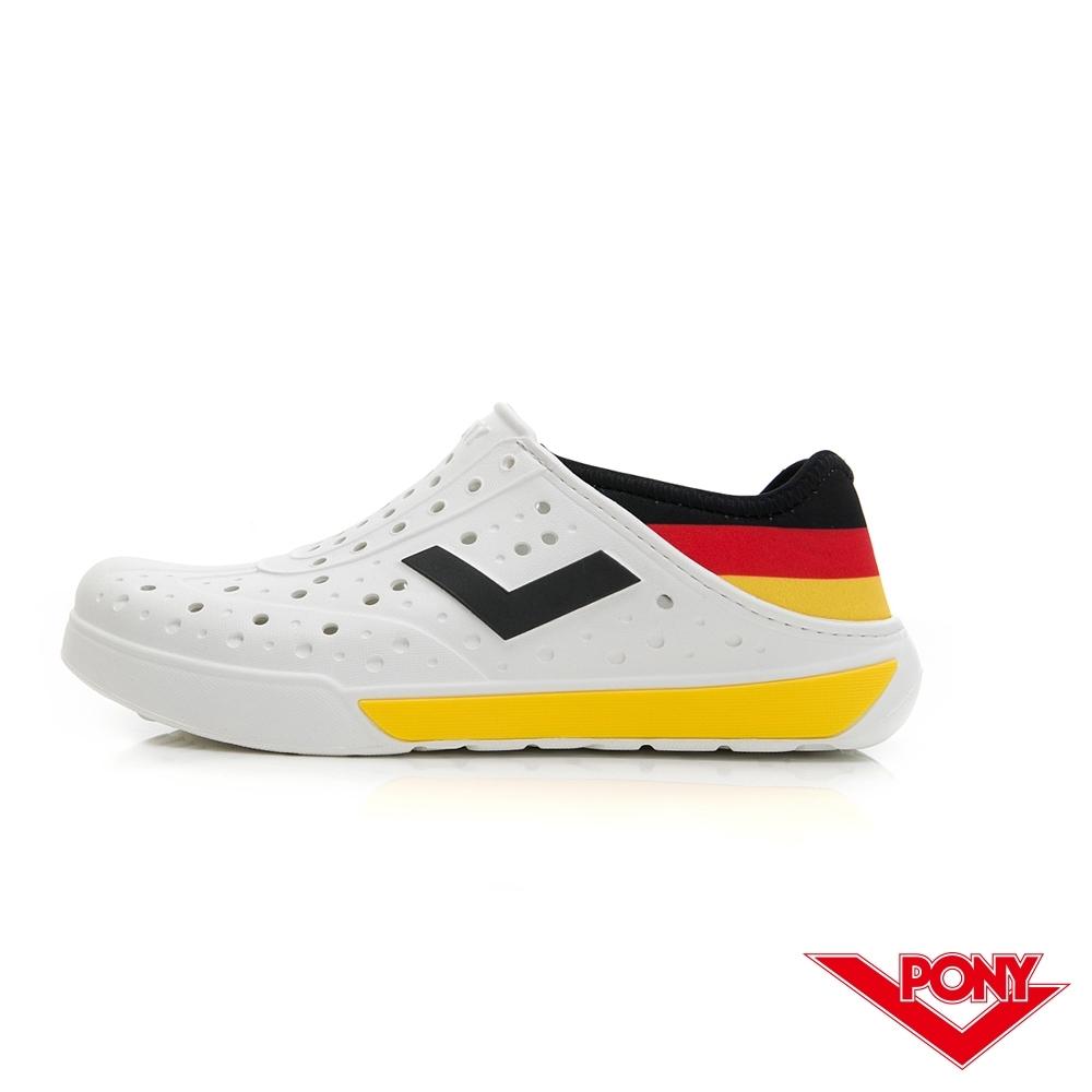 【PONY】ENJOY輕量透氣洞洞鞋 雨鞋 懶人鞋 涼鞋 男女鞋 國旗配色 黑/黃