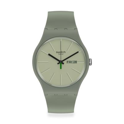 SWATCH New Gent 原創系列手錶 卡其綠(41mm)