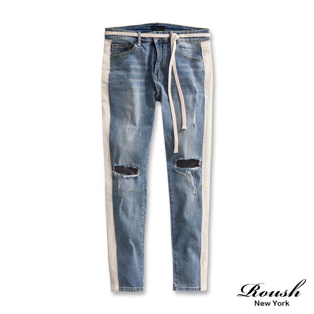 Roush (可拆式織帶)破壞拼接刷白牛仔褲
