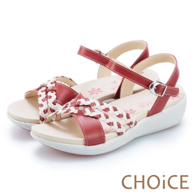 CHOiCE 麻花雙色皮革編織造型涼鞋 紅色