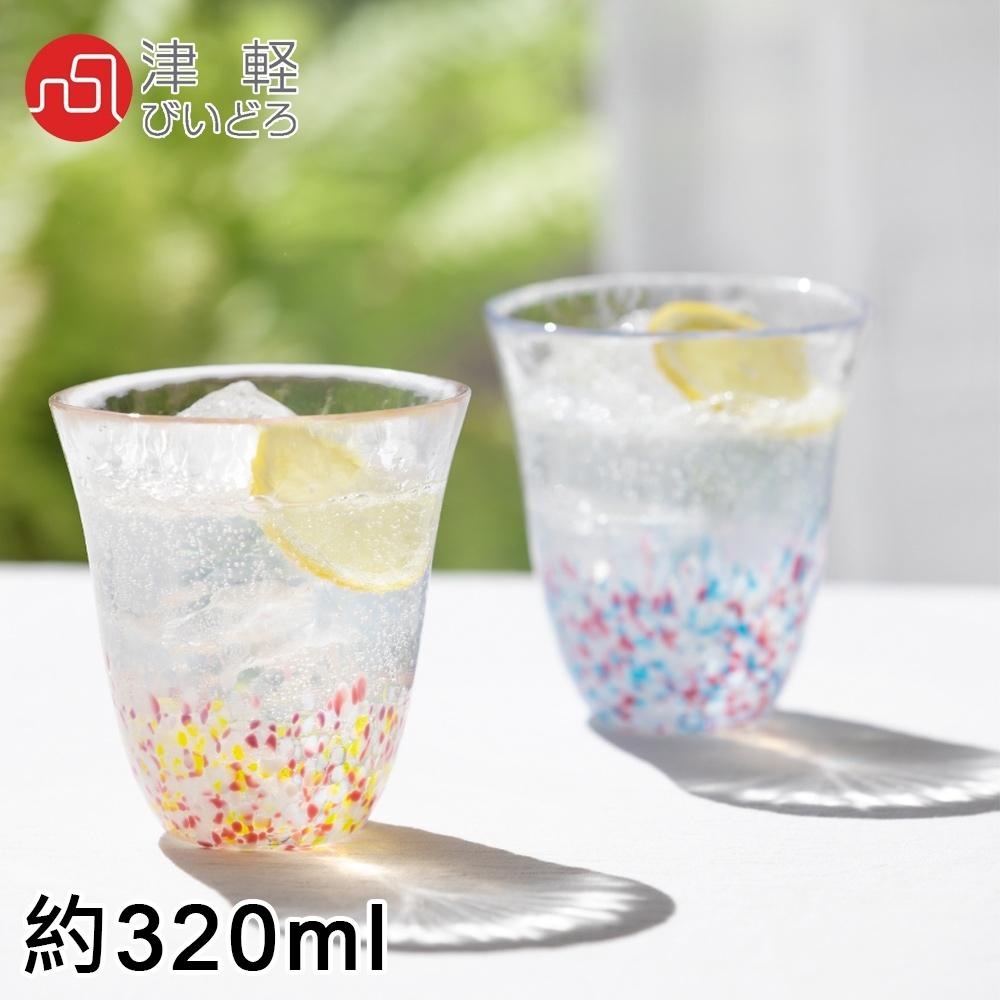 ADERIA 日本進口津輕系列手作櫻花雙色玻璃對杯禮盒組320ML
