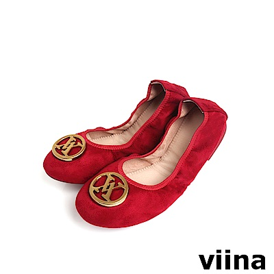 viina 絨布金扣折疊鞋MIT-紅色